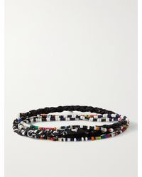 Mikia Glass And Bandana-print Cotton Beaded Necklace - Black