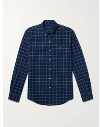 Polo Ralph Lauren Button-down Collar Logo-embroidered Checked Cotton Oxford Shirt - Blue