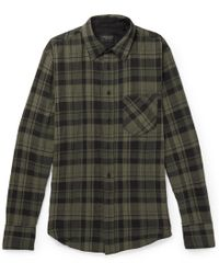 Rag & Bone | Fit 3 Checked Stretch Cotton-herringbone Shirt | Lyst