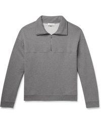 NINETY PERCENT Mélange Loopback Organic Cotton-jersey Half-zip Sweatshirt - Grey