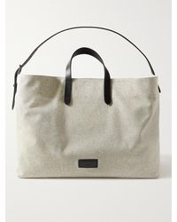 Mismo Haven Leather-trimmed Cotton-canvas Tote Bag - Grey