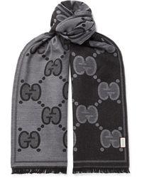 Gucci - Fringed Logo-jacquard Wool Scarf - Lyst