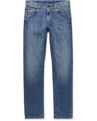 Canali Slim-fit Stretch-denim Jeans - Blue