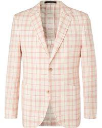 Richard James Ivory Checked Linen, Wool And Silk-blend Blazer - Multicolour