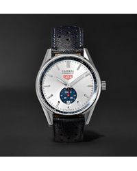 Tag Heuer - Carerra Automatic Chronograph 39mm Polished-steel And Leather Watch - Lyst