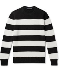 Lardini Slim-fit Striped Wool And Cashmere-blend Sweater - Black
