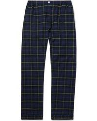 Sleepy Jones - Marcel Piped Checked Cotton-flannel Pyjama Trousers - Lyst