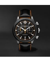 Baume & Mercier Capeland Automatic Chronograph 42mm Stainless Steel And Leather Watch - Black