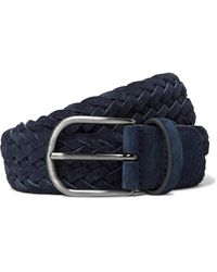 Andersons 3.5cm Navy Woven Suede Belt - Blue
