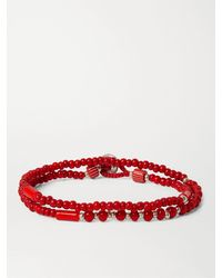 Mikia White Hearts Glass And Sterling Silver Beaded Double-wrap Bracelet - Red