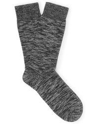 Oliver Spencer Miller Mélange Stretch Cotton-blend Socks - Grey