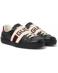 Gucci - Logo-print Leather Sneakers - Lyst