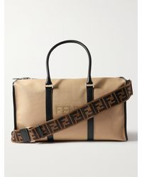 Fendi Leather-trimmed Logo-appliquéd Canvas Holdall - Multicolour