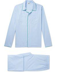 Sleepy Jones Henry Piped Cotton-poplin Pajama Set - Blue
