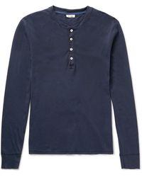 Schiesser Slim-fit Cotton-jersey Henley T-shirt - Blue