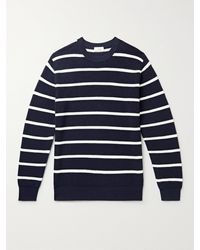 Altea Striped Ribbed Virgin Wool Jumper - Blue