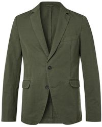 Officine Generale Slim-fit Unstructured Garment-dyed Cotton And Linen-blend Suit Jacket - Green