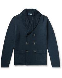 Lardini Shawl-collar Double-breasted Alpaca-blend Cardigan - Blue