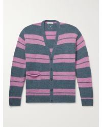 Pop Trading Company Striped Knitted Cardigan - Grey
