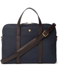 Mismo Leather-trimmed Nylon Briefcase - Blue