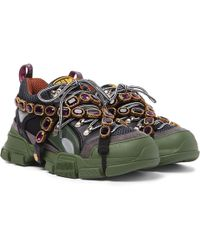 Gucci Flashtrek Embellished Suede, Leather And Mesh Sneakers