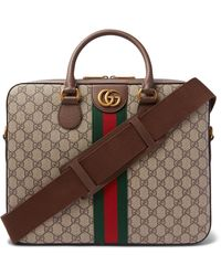 Gucci Ophidia Leather-trimmed Monogrammed Coated-canvas Briefcase - Brown