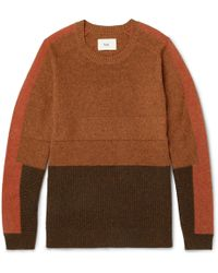 Folk - Panelled Wool And Cotton-blend Sweater - Lyst