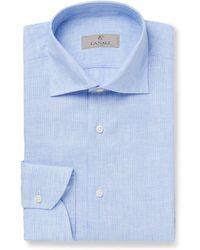 Canali - Blue Striped Linen Shirt - Lyst
