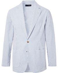 Lardini - Blue Unstructured Striped Cotton-seersucker Blazer - Lyst