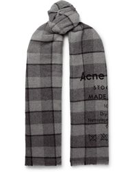 Acne Studios Fringed Printed Checked Wool Scarf - Gray