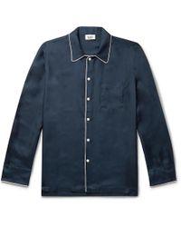 Sleepy Jones Henry Piped Silk-twill Pyjama Shirt - Blue