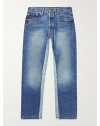 Balenciaga Slim-fit Patchwork Two-tone Recycled Jeans - Blue