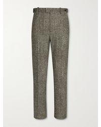 Bottega Veneta Donegal Wool-blend Tweed Trousers - Brown