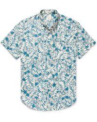 J.Crew   Slim-fit Button-down Collar Floral-print Slub Cotton Shirt   Lyst