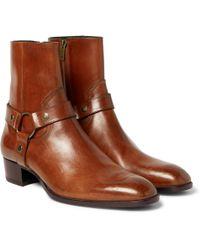 Saint Laurent - Wyatt Burnished-leather Harness Boots - Lyst