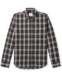 WOOD WOOD - Andrew Button-down Collar Checked Organic Cotton-flannel Shirt - Lyst