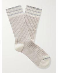 Brunello Cucinelli Striped Ribbed Cashmere Socks - Grey