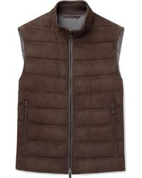 Ermenegildo Zegna - Quilted Suede And Cotton Down Gilet - Lyst