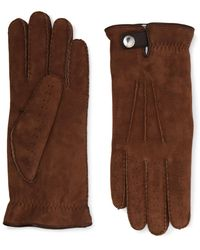 Brunello Cucinelli Shearling-lined Perforated Suede Gloves - Brown