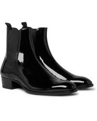 Saint Laurent Wyatt Patent-leather Chelsea Boots - Black