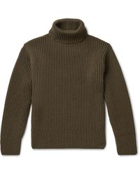 Tom Ford Ribbed Cashmere Rollneck Sweater - Green