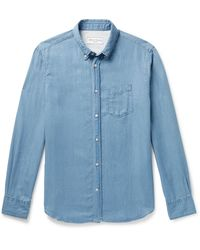Officine Generale Antime Button-down Collar Lyocell-chambray Shirt - Blue