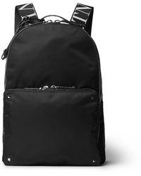 Valentino Garavani Rockstud Logo Webbing-trimmed Nylon Backpack - Black