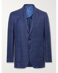 Peter Millar Concorde Slim-fit Checked Wool, Silk And Linen-blend Blazer - Blue