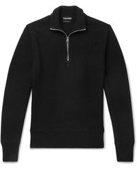 Tom Ford Slim-fit Ribbed Merino Wool And Cashmere-blend Half-zip Jumper - Black