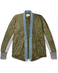 Greg Lauren Distressed Denim And Jersey-panellled Quilted Ripstop Jacket - Green
