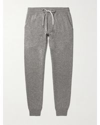Tom Ford Mélange Cashmere And Wool-blend Joggers - Grey