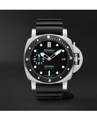 Panerai Submersible Automatic 42mm Stainless Steel And Rubber Watch - Black