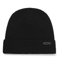 Brioni Logo-appliquéd Ribbed Wool Beanie - Black