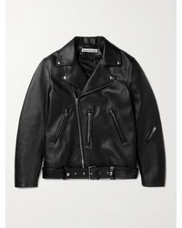 Acne Studios Nate Belted Leather Biker Jacket - Black